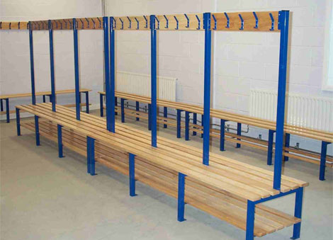 Changing Room Double Bench With Shoe Tray