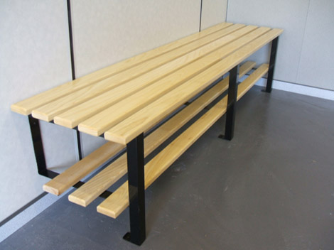 Cloakroom wall to floor fixed bench changing room benches sport
